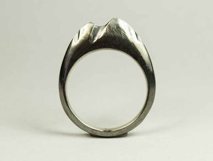 Blackened Sterling Silver Mountain Ring