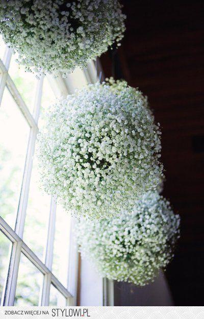 kule z gipsówki dried flowers suszone kwiaty
