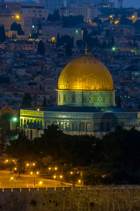 The Dome of the Rock...  illuminated at twilight, Jerusalem, Palestine: