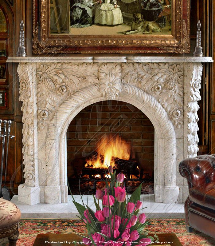 Marble Fireplaces – Grape Archway Marble Mantel -…