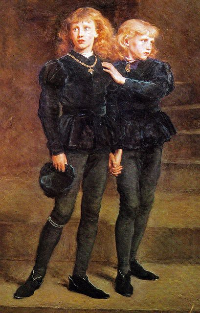 On this day 17th August, 1483 The day presumed that the two young princes, the uncrowned Edward V and his brother Richard, Duke of York, were killed in the Tower of London (The Two Princes Edward and Richard in the Tower, 1483 by John Everett Millais, 1878 - Tower of London)