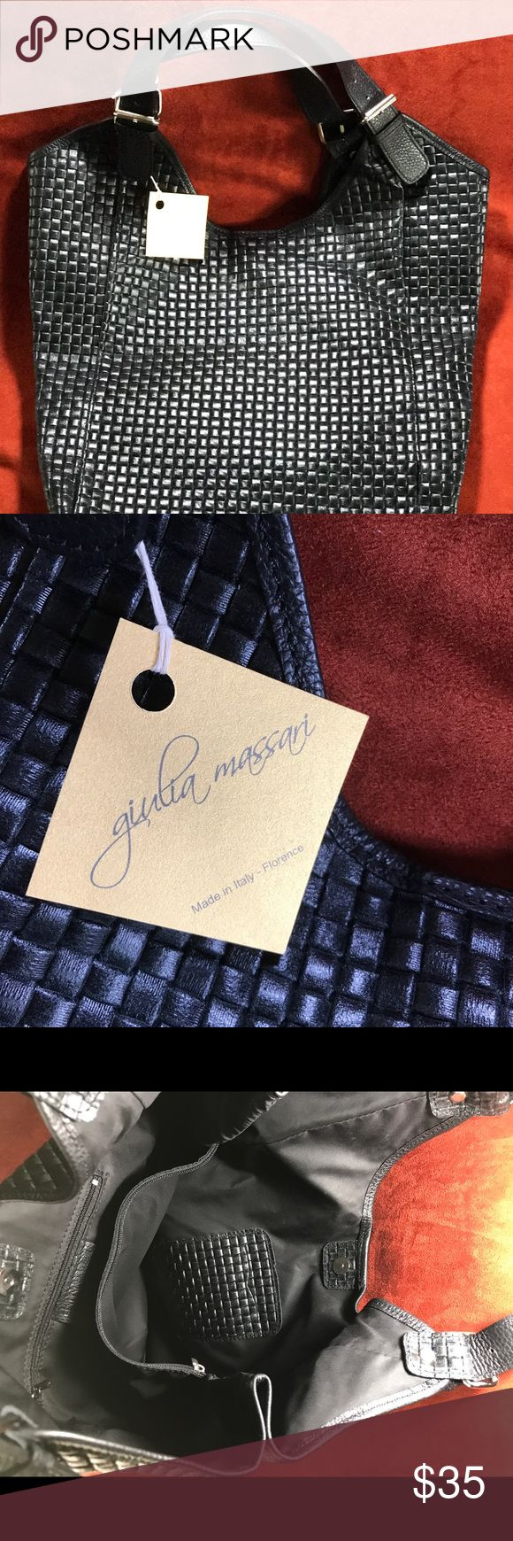 """NWT guilia massari Woven Leather Hobo Handbag NWT. This bag would make a great stylish diaper bag. I purchased it and could not return it but it's way too large for my body frame 5""""4"""" Petite. Made in Italy. Giulia Massari Bags Hobos"""