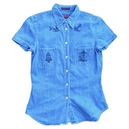 Free As A Bird denim hand-printed shirt