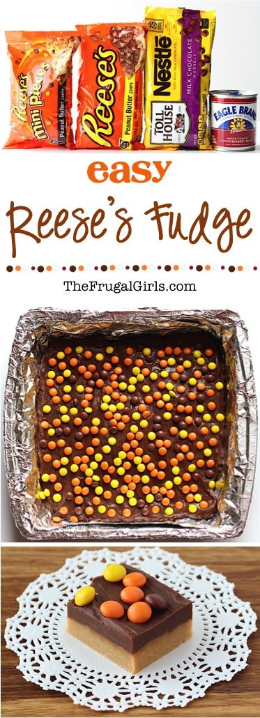 Reese's Fudge Recipe! ~ from TheFrugalGirls.com ~ this ridiculously EASY 4 ingredient Fudge is over the top delicious!! These little pieces of chocolate peanut butter heaven are the perfect addition to parties, holiday dessert tables, and such a sweet little gift for friends and neighbors!