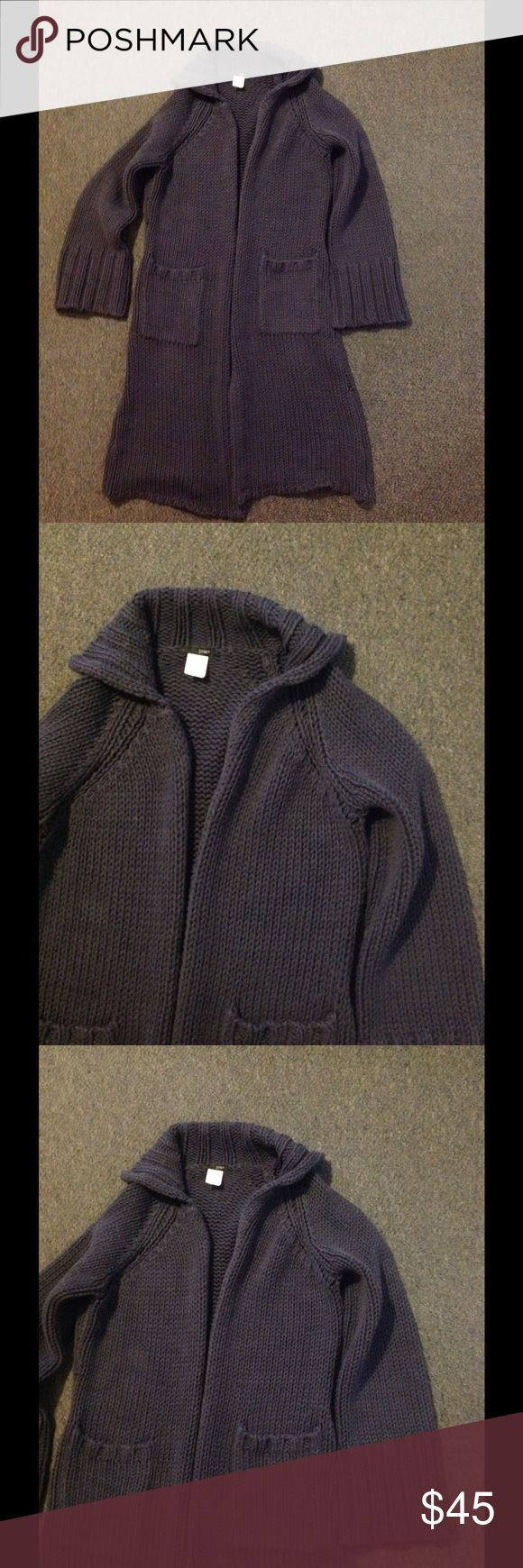 J. Crew Long Hangs Open Cardigan Sweater S Very nice J. Crew sweater. Long chunky style - hangs open with pockets. Sleeves are wide at the bottom. Made of cotton/acrylic in size Small. Great condition. J. Crew Sweaters