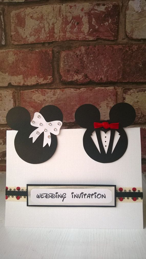Minnie & Mickey Mouse Wedding Card or Invites by ange1edelights