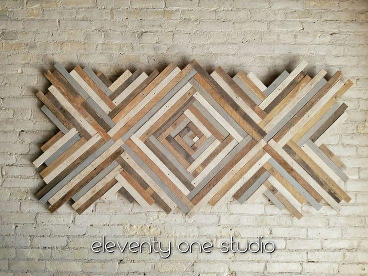 Wood wall art, reclaimed lath wood by EleventyOneStudio on etsy
