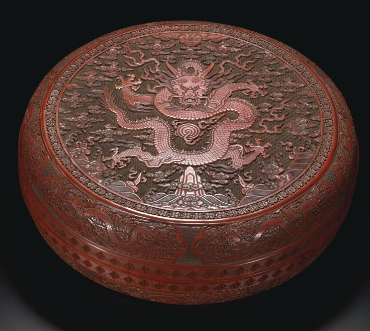 A MASSIVE CINNABAR LACQUER 'DRAGON' BOX AND COVER  LATE MINGDYNASTY