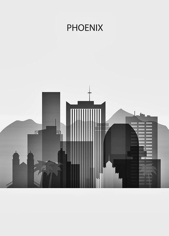 Phoenix Print, Arizona Cityscape Print - Phoenix Art, Phoenix Skyline City, Silhouette Art, Art Print Poster, Black White, Vertical Print…