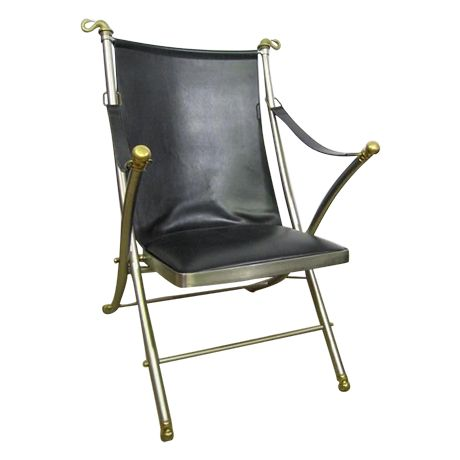 60s Leather Folding Italian Campaign Chair on Chairish.com. SOLD!
