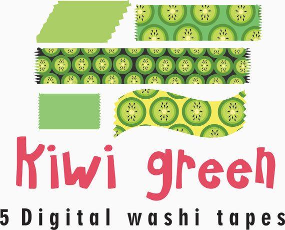 Digital washi tape 'Kiwi green' kiwi fruit clipart by GemmedSnail, $1.00