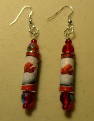 maple leaf paper earrings