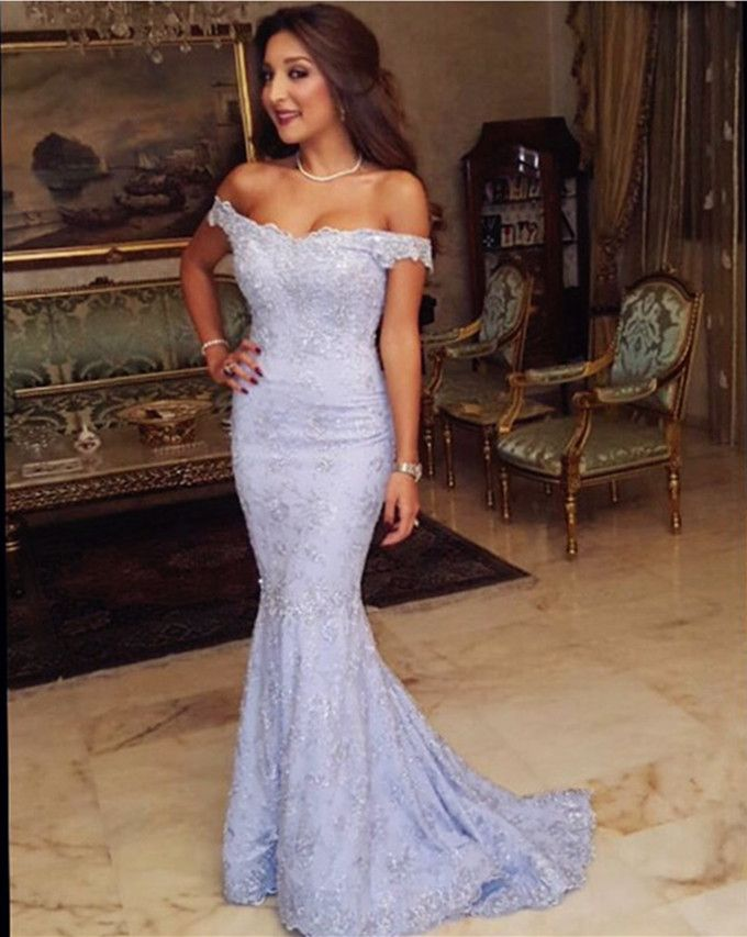 Light Blue Off the Shoulder Mermaid Formal Prom Dress