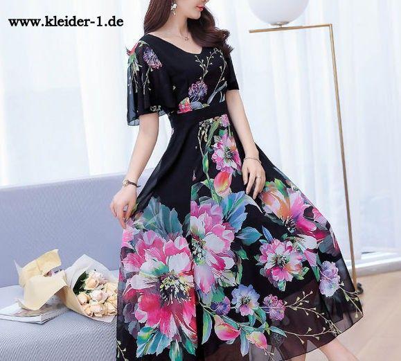 Elegantes Chiffon Sommerkleid mit Blumen Viliana