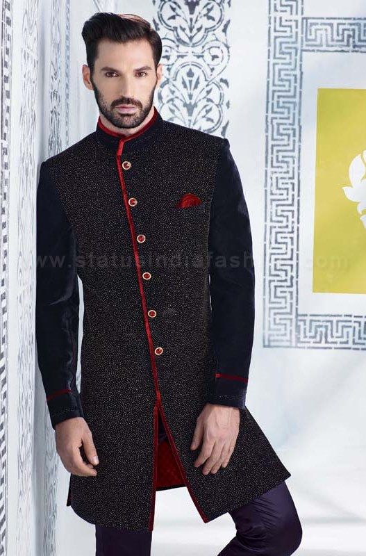 sherwani for men, sherwani uk, Asian clothes, wedding sherwani, Indian sherwani, velvet sherwani indo western, Black sherwani, mens wedding sherwani www.statusindiafashion.com