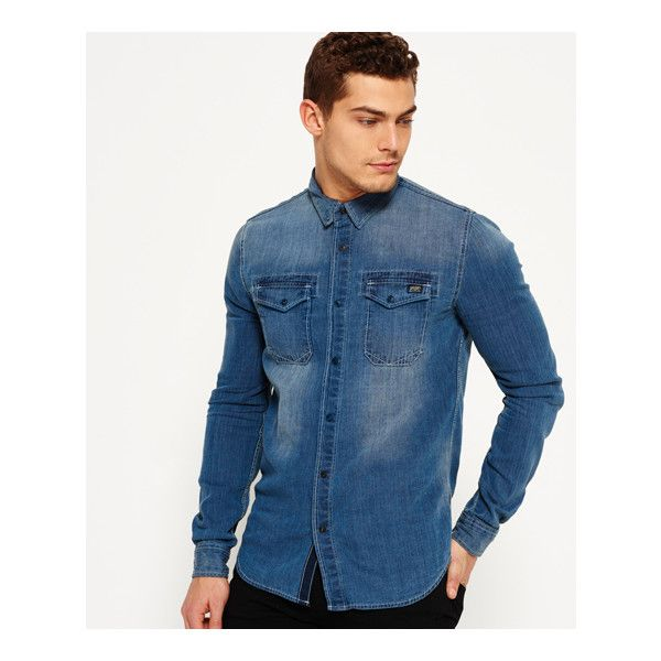 Superdry Roadster Denim Shirt ($49) ❤ liked on Polyvore featuring men's fashion, men's clothing, men's shirts, men's casual shirts, blue, mens extra long sleeve shirts, mens pearl snap shirts, mens long sleeve pocket t shirts and mens longsleeve shirts