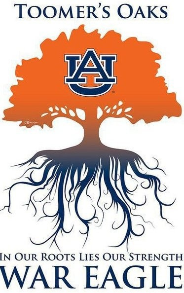 "Auburn University (Auburn Alabama) fans have historically gathered at a central spot in town called ""Toomer's Corner"" where towering oaks grace the town."