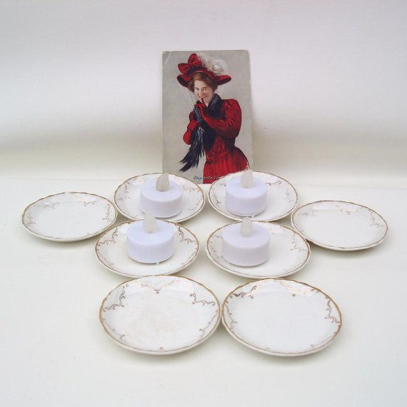 Antique Butter Pats Set of 8 #Butter #Dishes White by WhimzyThyme #victorian #dinnerware