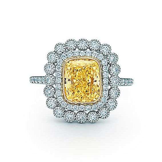 40 Fabulous Engagement Rings - Tiffany & Co. - Tiffany Enchant Cushion-Cut Yellow Diamond Ring from #InStyle