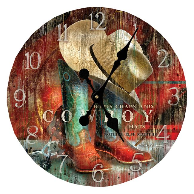 """Hang On for the Ride Wall Clock ~ Hang On for the Ride Wall Clock features a red and turquoise boot and hat print with a vintage, weathered look. Uses one AA battery. Measures 12"""" Diameter.  $29.95  @lonestarwesterndecor.com"""