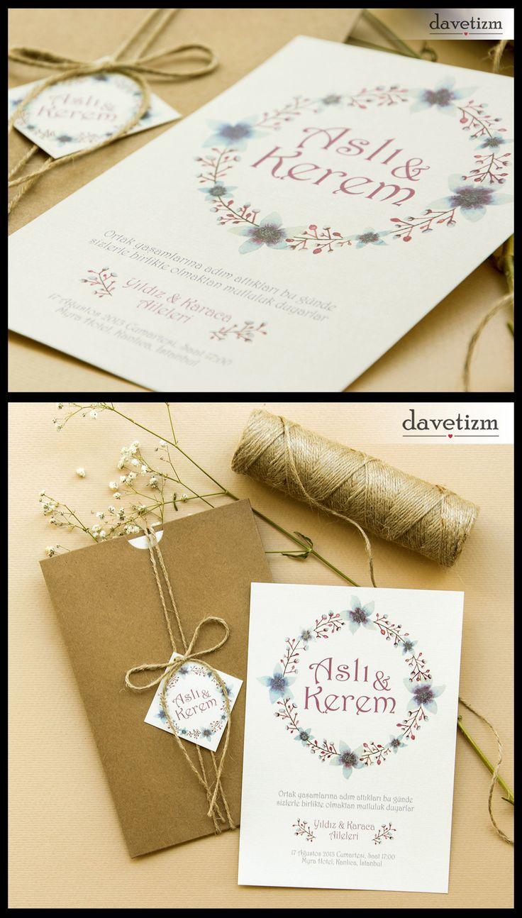 Davetizm A15 Davetiye Tasarımı #davetizm #wedding #invitation #davetiye #design #dugun #modern #flower #blue #purple #tasarım #nametag #suluboya #watercolor davetizm.com