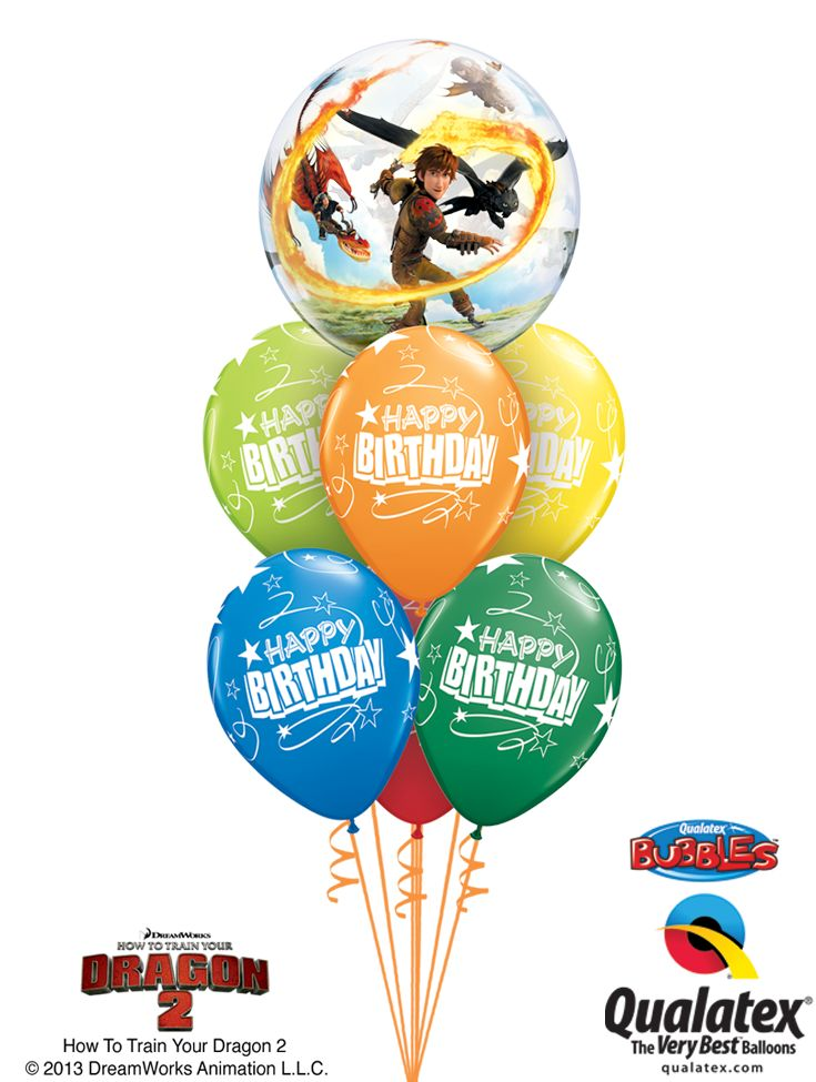 This bouquet of balloons will make the HTTYD fan jump and shout! Dreamworks How To Train Your Dragon 2 licensed product creation by Qualatex. #qualatex #balloon #dragon #birthday #HTTYD