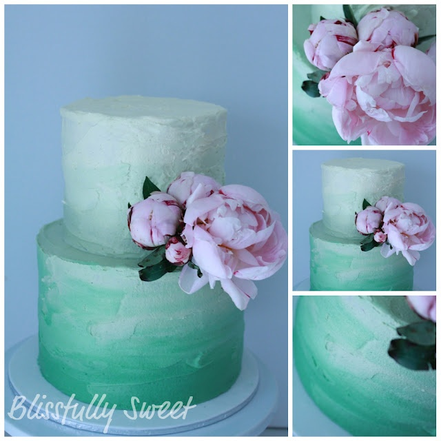 Green Ombre  fresh Peonies Cake