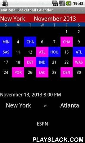 National Basketball Calendar  Android App - playslack.com , Professional Basketball Calendar for your favorite basketball team.This app provides the schedule for the games to come and the scores of past games for your favorite basketball team. This app is the fastest app to get the schedule in a flash.Each game on the calendar is colored with a specific color so you know whether your favorite team has won or lost, or whether the game will be play at home or away. These colors can be fully…