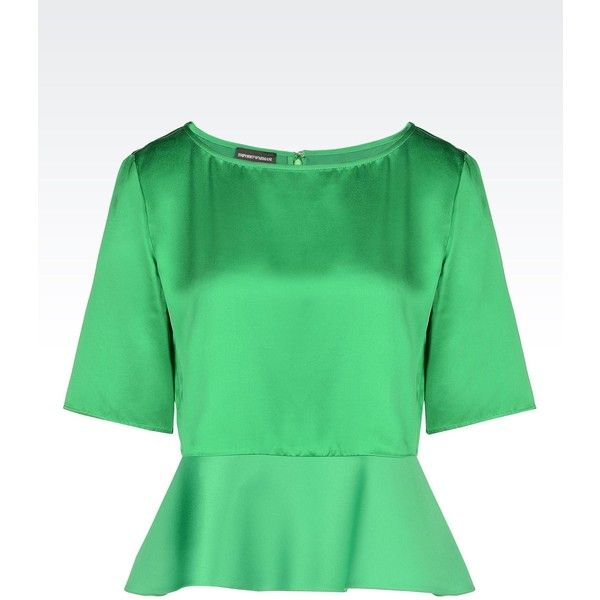 Emporio Armani Short-Sleeved Top ($420) ❤ liked on Polyvore featuring tops, green, short sleeve peplum top, short sleeve tops, green top, emporio armani and peplum tops