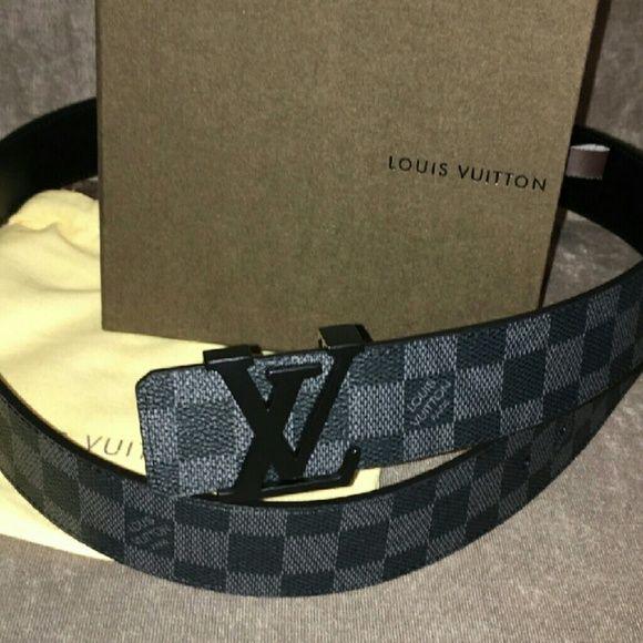 Louis Vuitton Accessories - Black Damier Louis Vuittton belt with black buckle