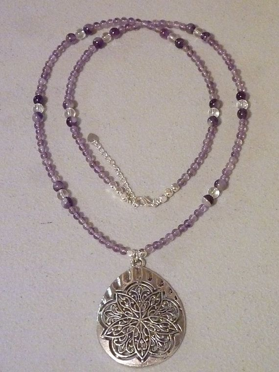 Amethyst and Clear Quartz Necklace by MystiqueCrystal on Etsy, $30.00