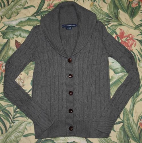 Womens Polo Sport Ralph Lauren Cable Knit Grey Cardigan Sweater Small S | eBay