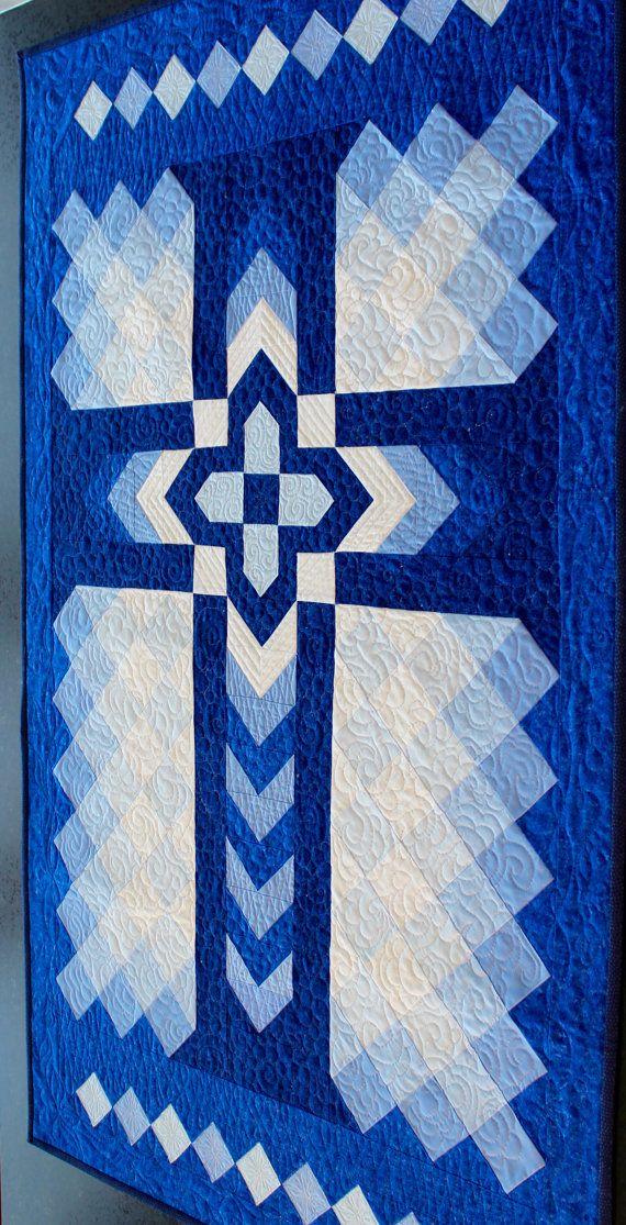 """Cross Quilt Pattern - Christian Cross / Chevron Cross / Blue Cross - Wall Hanging: 32"""" x 52"""""""