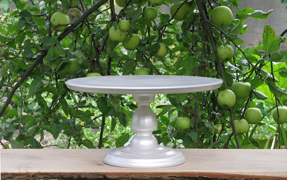 "Wedding cake stand,16"" inches Shiny SILVER cake stand,Custom wedding cake stand,Large cake stand,Wood cake stand,Custom 10"" 12"" 14"" 18"" 20"""