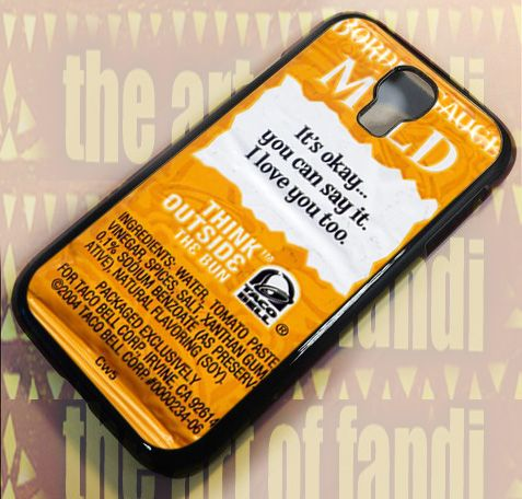 Taco Bell Sauce Packet For Samsung Galaxy S4 Black Rubber Case