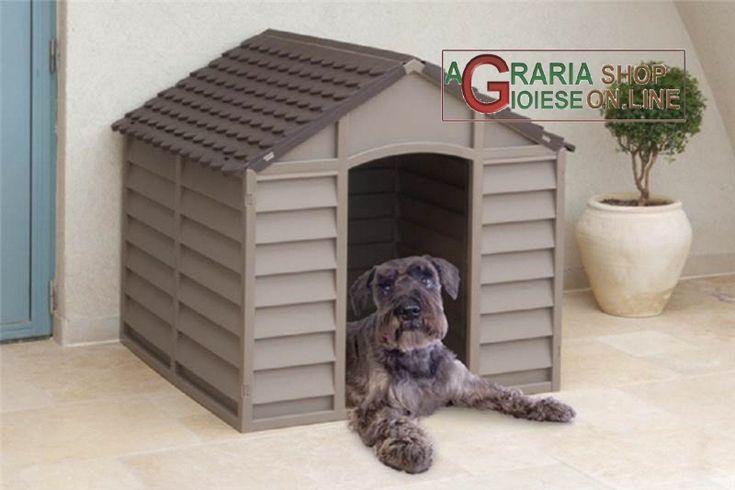 Cuccia per cani di media taglia in plastica pvc cm.78x84x80h. smontabile marrone