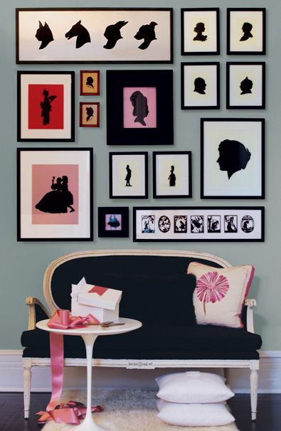 Colorful and eclectic mix of modern and traditional silhouettes: Picture, Decor, Ideas, Interior, Silhouette Wall, Gallery Wall, Design, Room