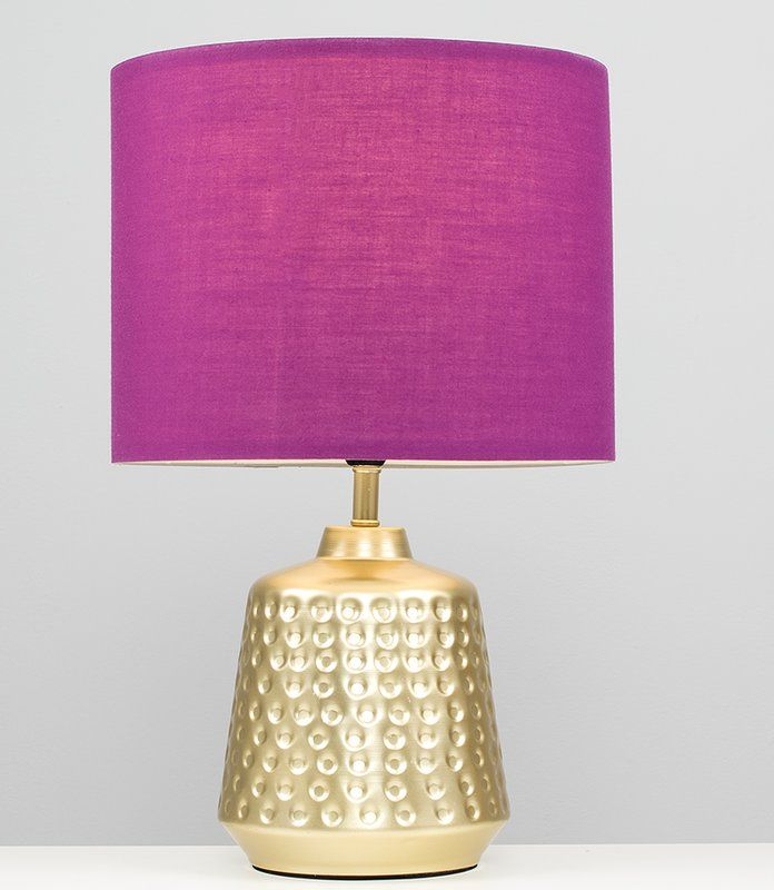 Melville Golden Hammered Touch 26cm Table Lamp/ bedside lamp with pink lampshade #glamorous #glam #tablelamp #bedroom