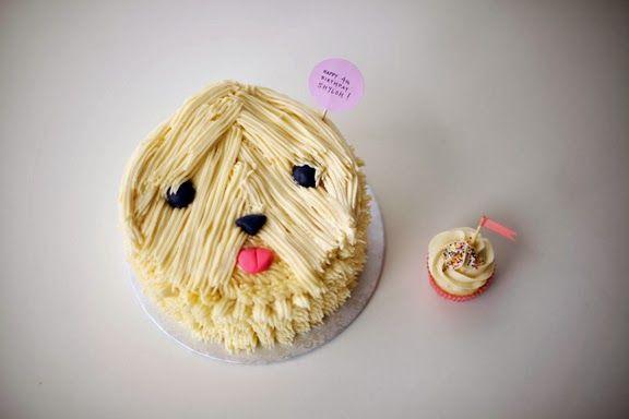 needing a bang trim - sheepdog cake and cupcake buddy by #cococakeland