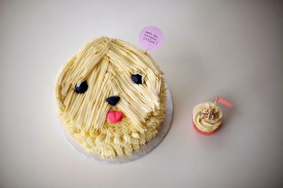 needing a bang trim - sheepdog cake and cupcake buddy by #cococakeland
