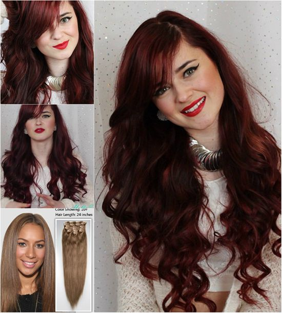 dyed wavy long hairstyle with cheap human hair extensions clip in