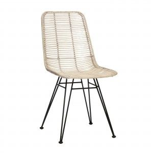 STUDIO chair in white rattan with steel base