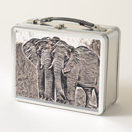 rustic style - elephants metal lunch box - animal gift ideas animals and pets diy customize