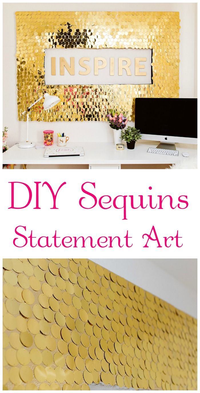 Fabulous DIY Sequins Statement Art that is just amazing!!! This gorgeous piece brightens up any room!! Click for tutorial