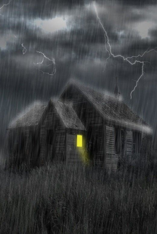 Love This..Old Farm House Under Storm At Night, A Single ...