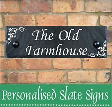 PERSONALISED SLATE HOUSE SIGN PLAQUE ANY DOOR NUMBER HOUSE NAME SIGN 12 X 4 ""