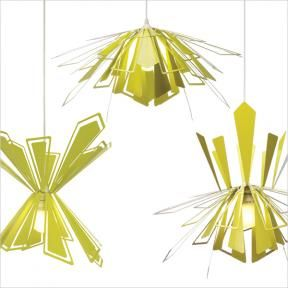The MIO Bendant Lamp is the only chandelier pendant lamp that can be customized by bending the shades.   http://mioculture.com/lighting/bendant-lamp.html