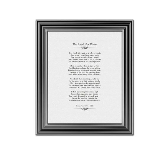 ROAD NOT TAKEN Poem Robert Frost Literary Print Famous