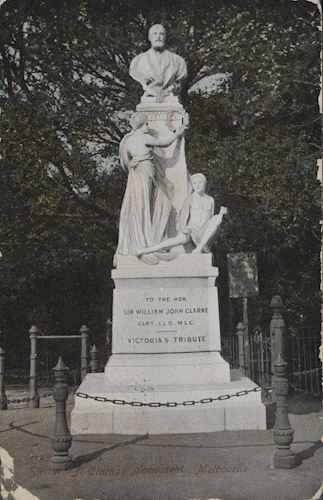 Postcard - Monument to Sir William Clarke, Treasury Gardens, Melbourne, 1907