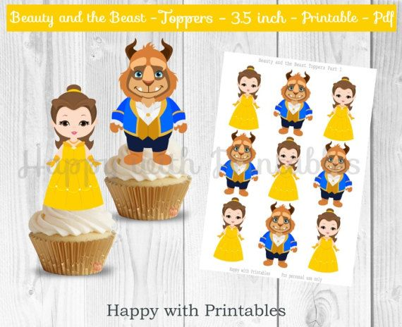Beauty and the Beast Toppers - 3.5 inch Princess Belle Toppers - Belle and the Beast Printables - Beauty and the Beast party - Belle